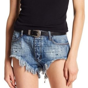 NWT One Teaspoon Blue Suede Rollers Bandit Shorts